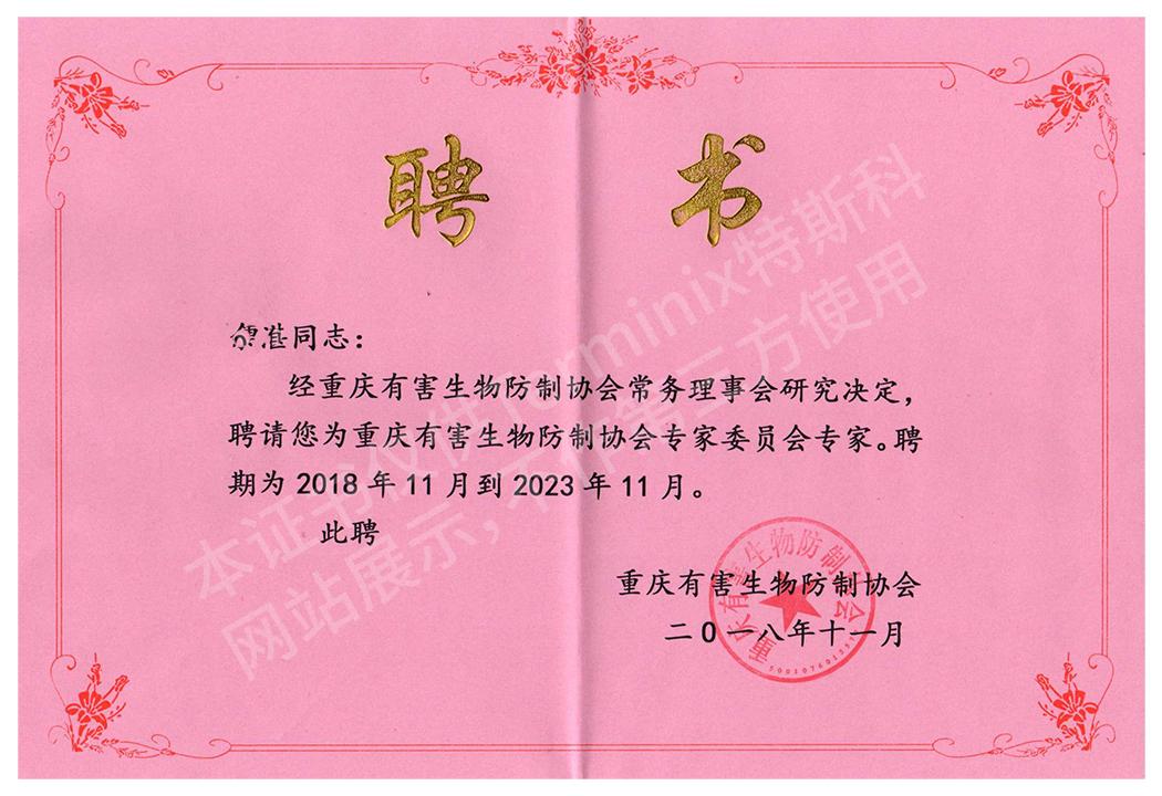 余湛-重庆协会专家聘书