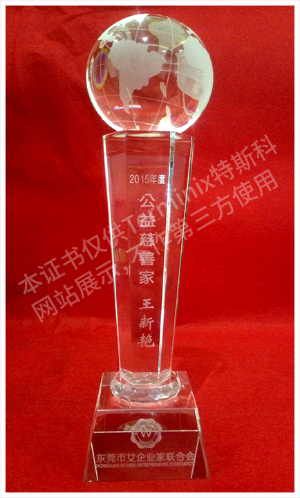 东莞市女企业家联合会-公益慈善家奖杯